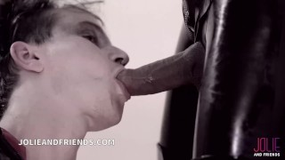 Shemale Bruna Venchy, mistress full latex dressed whipping and fucking guy!