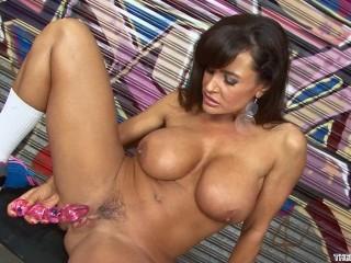 Lisa Ann strip tease and solo masturbation with orgasm