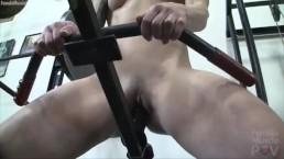 Muscular Female Redhead Fucks Dildo in Gym