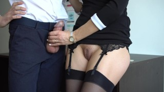 Sexy Secretary In Stockings Makes Boss Cum On Her Dress In Office Creampie me