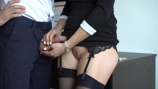 Sexy Secretary In Stockings Makes Boss Cum On Her Dress In Office Green big
