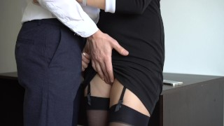 Sexy Secretary In Stockings Makes Boss Cum On Her Dress In Office Amateur blonde