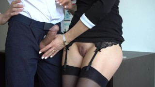 Sexy Secretary In Stockings Makes Boss Cum On Her Dress In Office porno