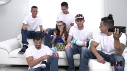 Hussie Auditions: Hot Brunette Carolina Sweets' First Gangbang