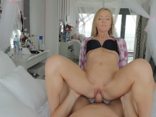 Preview 6 of Tiny blonde with blue eyes craves for my big white cock. Made in Barcelona