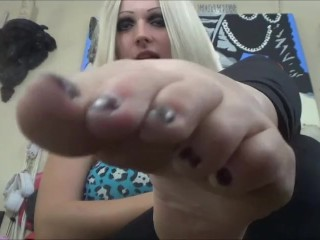 Blonde Gothic Girl With Big Feet Makes You Suck The Toes