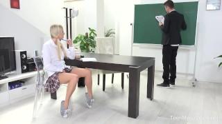FuckStudies.com - Karolina - Blonde babe gets help and orgasm Deepthroat pov
