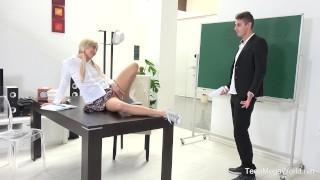 FuckStudies.com - Karolina - Blonde babe gets help and orgasm Butt tits