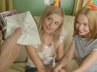 Happy Birthday! As A Present You May Fuck Two Petite Blonde Teen.