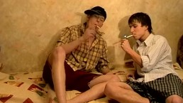 Knut and Artur enjoy smoking cigs and smoking dicks