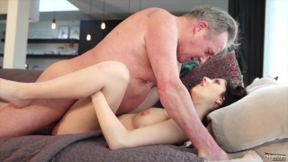 Old man Warming up my young pussy and cums in my mouth I swallow it