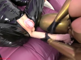 A huge cock for My latex bitch