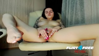 Lusty Sonya on Flirt4Free Fetish - Dirty Talkin Babe Toys with Feet & Dildo Tits teasing