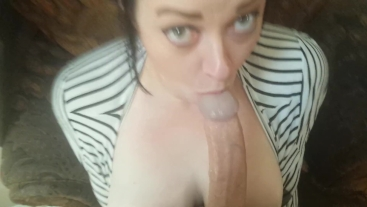 Tits come out at 1:55! Wifey_Blows_Best Deepthroat POV sloppy blowjob