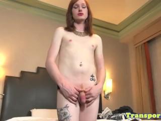 Bigfeet ginger femboy tugging cock solo