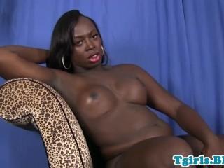 Curvy black TS tugging her hard cock