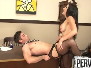 Cleo Keeps Her Boss in Chastity and Fucks His Ass PEGGING FEMDOM PANTYHOSE