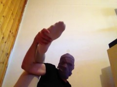 YOUNG GUY TEASE FEET AND LEGS IN WHITE TIGHTS / PANTYHOSE