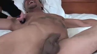 Muscular hunk Jose is tied to the bed and tickled hard Hand dick