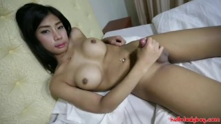 Hello LadyBoy - Young Thai ladyboy gets ass filled with big white cock Shemale braces
