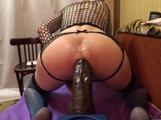 TS-girl destroys ass, a huge strap on
