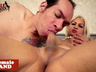 Trans goddess fucks hubby before cockriding
