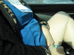 Brenda masturbating in her car before work.