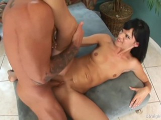 Steel Dildo Pumping Her Ass Replaced By Cock