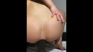 Blonde hot Teen forces 14inch BBC in her tight little ass Big blowjob