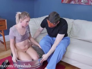Degradation-starved whore feasts on man's ass and feet