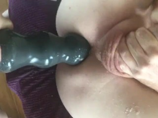 Femdom huge strap on destroys his man cunt