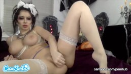 Emily Addison big ass big tits spreading her wet pussy with multiple toys.