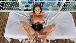 PureMature Oiled up massage fuck with big breasted MILF Ava Addams Public tits