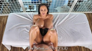 PureMature Oiled up massage fuck with big breasted MILF Ava Addams porno
