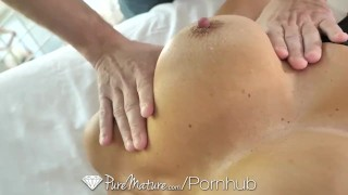 PureMature Oiled up massage fuck with big breasted MILF Ava Addams Pussy of