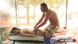 Angie White gets a free massage in Barcelona