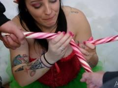 Slutty Elf Candy Cane Blowbang with Whipped Cream Bukkake