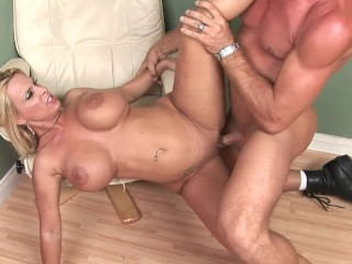 BLONDE MILF WITH HUGE TITS GETS HER PUSSY FILLED BY YOUNG COCK
