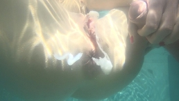 Underwater ass to mouth sex in the pool and anal creampie. Mia Bandini.