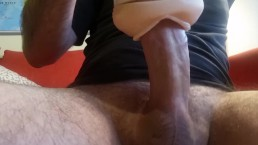 Guy moaning and shaking while cumming inside a fake pussy