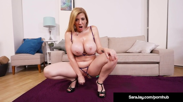 Sara jay 2 cocks Bubble butt milf sara jay oils up her hot big tits squirts