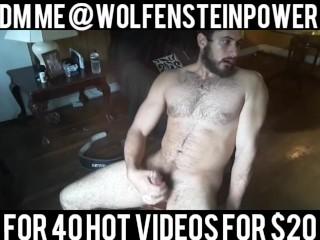 Hot Bodybuilder Jerking Off and Cumming in Living Room
