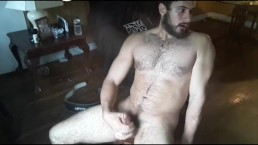 Hot Bodybuilder Jerking Off and Cumming in Living Room
