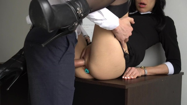 Internal fuck - Anal creampie for sexy secretary, boss fucked her tight pussy and ass
