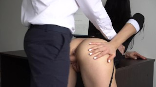Anal Creampie For Sexy Secretary, Boss Fucked Her Tight Pussy And Ass! Young petite