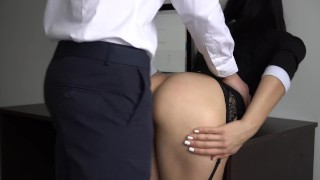 Anal Creampie For Sexy Secretary, Boss Fucked Her Tight Pussy And Ass! Big best
