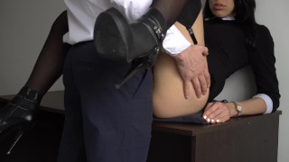 Anal Creampie For Sexy Secretary, Boss Fucked Her Tight Pussy And Ass! Pegging his