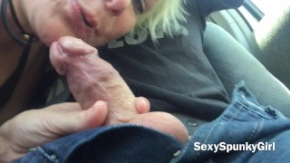 Risky Public Car Blow Job & Cum Swallow at Mexican Border SexySpunkyGirl