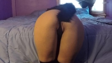 Angel Stone anal plug, spanking and masturbating in stockings and corset