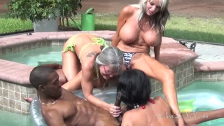PenisColada - Three Milfs and a Black Cock Petite bang